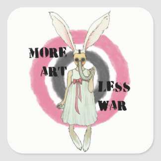 More Art Less War Square Sticker