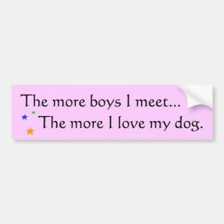 More boys = More love for my dog - Bumpersticker Bumper Sticker