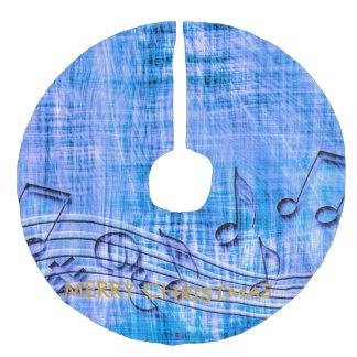 more music blue faux linen tree skirt