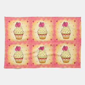More nicely yellow and pink Cupcake with rose and Tea Towel