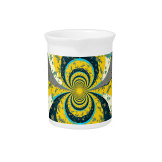 """MORE SNOW IN FORECAST"" YELLOW BLUE ART PITCHER"