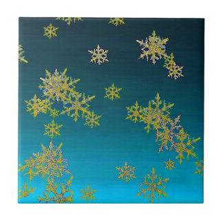 """MORE SNOW""TEAL BLUE ART DESIGN GIFTS CERAMIC TILE"
