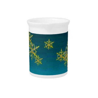"""MORE SNOW""TEAL BLUE ART DESIGN GIFTS PITCHER"