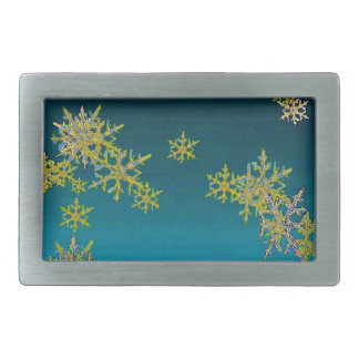 """MORE SNOW""TEAL BLUE ART DESIGN GIFTS RECTANGULAR BELT BUCKLES"