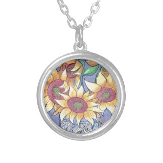 More sunflowers silver plated necklace
