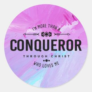 """""""More Than A Conqueror"""" Sticker"""