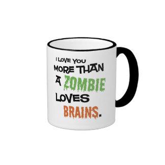 More Than A Zombie Loves Brains Ringer Coffee Mug
