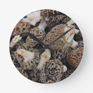 Morel Mushrooms Round Clock