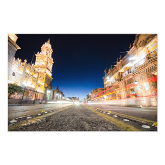 Morelia Michoacan State at Night Photo Print