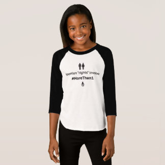 MoreThan1 Girl's Raglan (Blk on Wht) T-Shirt