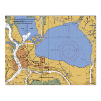 Morgan City, Louisiana Nautical Chart Postcard