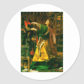 Morgan Le Fay ~ Sandys 1864 Fine Art Painting Round Sticker