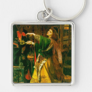 Morgan Le Fay ~ Sandys 1864 Fine Art Painting Silver-Colored Square Key Ring