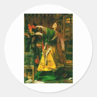 Morgan Le Fay ~ Sandys 1864 Fine Art Painting Round Sticker