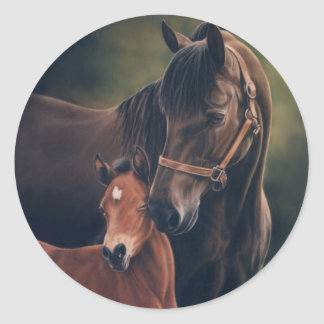 Morgan Mare and Foal Round Sticker
