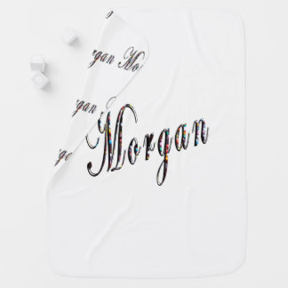 Morgan, Name, Logo, White Snugly Baby Blanket. Baby Blanket