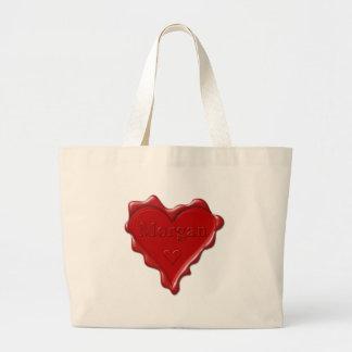 Morgan. Red heart wax seal with name Morgan Large Tote Bag