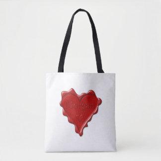 Morgan. Red heart wax seal with name Morgan Tote Bag