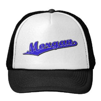 Morgan script logo in blue trucker hat