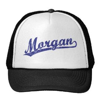 Morgan script logo in blue trucker hats