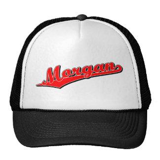Morgan script logo in red trucker hats