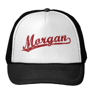 Morgan script logo in red mesh hats