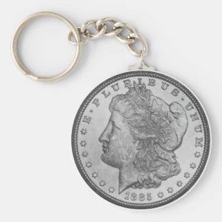 Morgan Silver Dollar Basic Round Button Key Ring