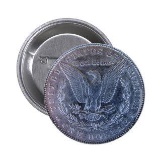 Morgan Silver Dollar Tail 6 Cm Round Badge