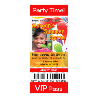 Morgan's Summer Spree VIP Ticket Photo Party (red) Card