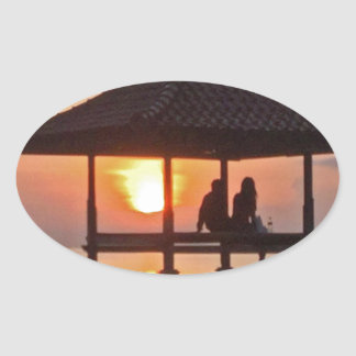 Moring in Bali Island Oval Sticker