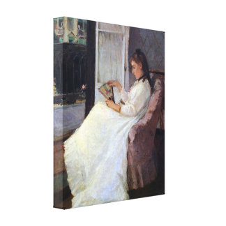 Morisot - The sister of the artist at a window Stretched Canvas Print