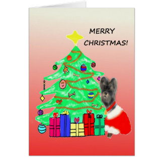Morkie Dog Christmas Card