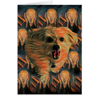 "Morkie Dog ""The Scream"" Funny 50 Birthday Card"