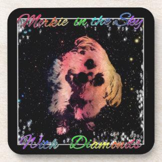 Morkie in the Sky w/Diamonds Plastic Coaster (6)