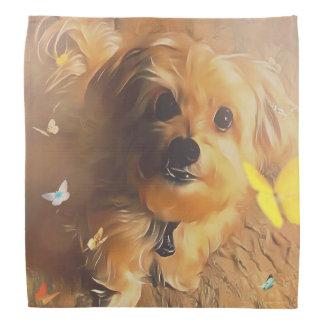 Morkie Puppy Dog Butterfly Cute Yellow Bandana