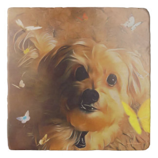 Morkie Puppy Dog Butterfly Marble Stone Trivet