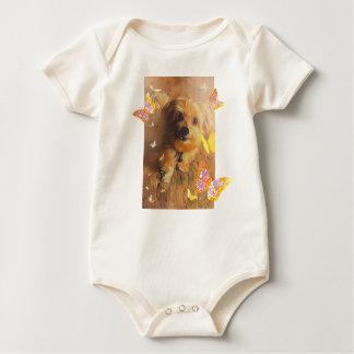 Morkie Puppy Dog Cute Butterfly Yellow Baby Romper Baby Bodysuit