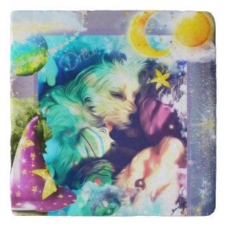 Morkie Puppy Dog Dream Fantasy Marble Stone Trivet