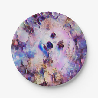 "Morkie Puppy Dog Purple Bubbles 7"" Paper Plates"
