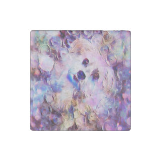 Morkie Puppy Dog Purple Bubbles Cute Stone Magnet