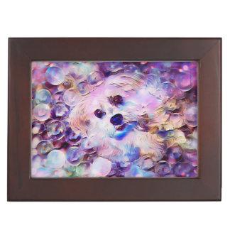 Morkie Puppy Dog Purple Bubbles Keepsake Gift Box