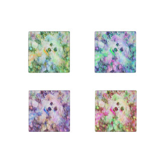 Morkie Puppy Dog Purple Bubbles Stone Magnets (4)