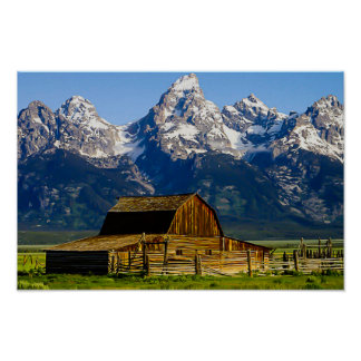 Mormon Row Barn and Mountains Poster