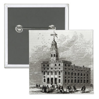 Mormon Temple at Salt Lake, 1854 15 Cm Square Badge