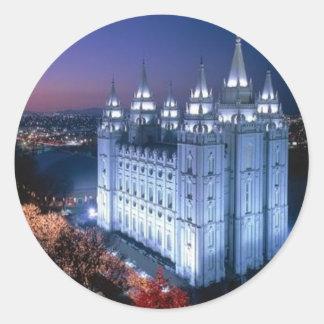 Mormon Temple Round Sticker