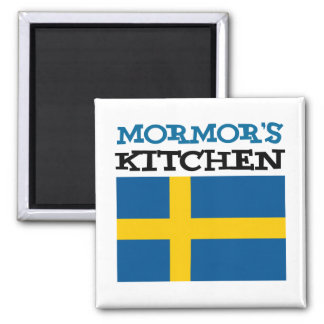 Mormor's Kitchen Featuring The Flag Of Sweden Magnet