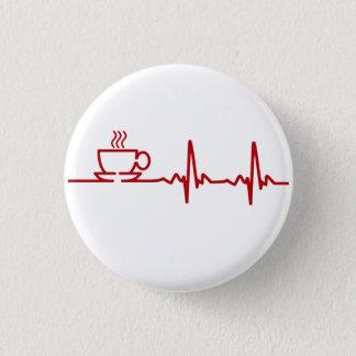 Morning Coffee Heartbeat EKG 3 Cm Round Badge