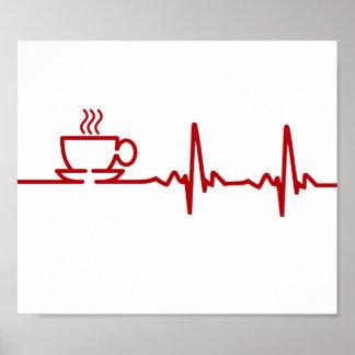 Morning Coffee Heartbeat EKG Poster