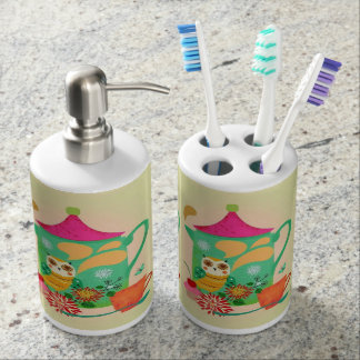 Morning Coffee Owl Soap Dispenser And Toothbrush Holder