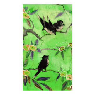 Morning Colors: Bird Painting in Green and Gold Pack Of Standard Business Cards
